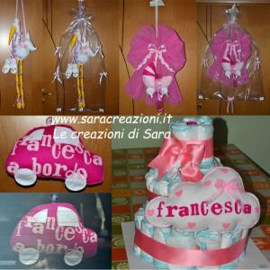 cicogna, fiocco carrozzina, Francesca a bordo e torta di pannolini